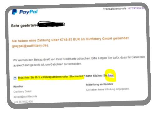 Paypal Passwort ändern Aufforderung